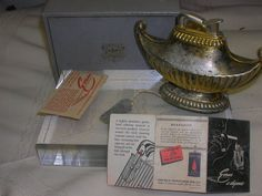 Vintage Evans Table Lighter Magic Lamp w/Pamphlet Lighter
