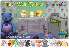"Annett's Sims 4 Welt: Child Wall Tattoos ""Animals"""