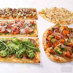 Flatbread pizza is a healthy, low carb alternative to regular pizza. Make your own flatbread pizza and use our delicious topping combinations for a new taste to your traditional pizza. Try a vegetarian, meat lovers or Asian inspired topping combo. Flatbread Pizza, Flatbread Toppings, Flatbread Recipes, Bhg Recipes, Pizza Recipes, Cooking Recipes, Healthy Recipes, Healthy Meals, Free Recipes