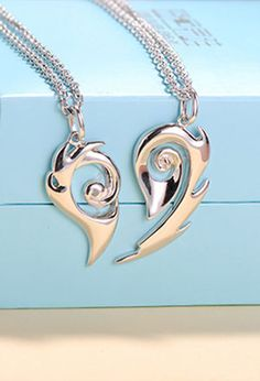 Matching Couple Necklaces, Love Heart Gifts, His and Hers Jewelry in Sterling Silver | iDream Jewelry