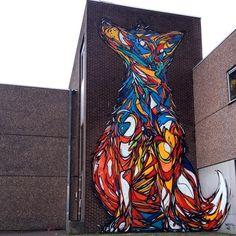Usando linhas abstratas e geométricas, Dzia cria grafites fantásticos em forma…