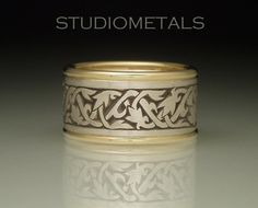 Hand Engraved Vine and Flower Ring Silver and Gold by Studiometals, $950.00