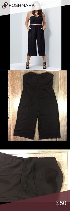 NWT Torrid Insider black culotte jumpsuit NWT Torrid Insider black culotte jumpsuit. Zipper in back. Strapless. Elastic band in back. Bust is approx 40 inches, waist is approx 38.5 inches. Some padding in bust. No belt included. 44.5 inches long. Approx 19.5 inch inseam. Polyester spandex. Tag reads size 14. torrid Pants Jumpsuits & Rompers