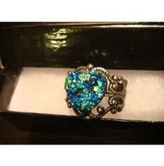 Victorian Style Faux Druzy / Drusy Heart Ring #47