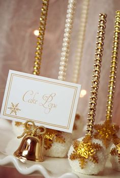 Gold Christmas party cake pops!  See more party planning ideas at CatchMyParty.com!