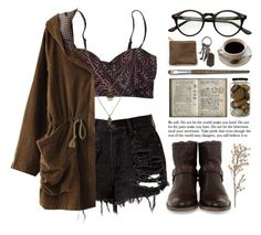 """""""Dark brew"""" by ctodtims ❤ liked on Polyvore featuring Billabong, Jamie Jewellery, Frye, Monza and AllSaints"""