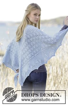 "Swan Lake - Knitted DROPS shawl with lace pattern in ""Alpaca"". - Free pattern by DROPS Design"