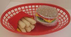 Felt food Hamburger and French Fries Set