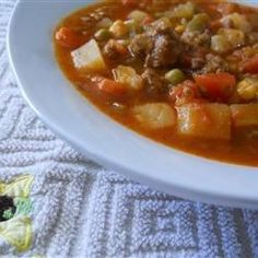 This is a satisfying, very easy, and delicious ground beef and vegetable soup to serve anytime of the year.