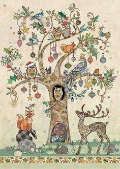 dc025 festive tree christmas card by bug art - Art Christmas Cards