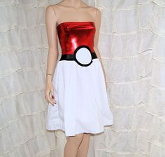 PokeBall Strapless Metallic Foil Summer Sun Dress by mtcoffinz, $60.00
