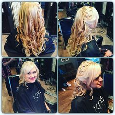 Blonde with red lights halo salon buffalo