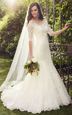 Fit-and-flare wedding dresses with Lace sleeves on an illusion jacket featuring a scalloped hem and train and bodice with Lace embroidered throughout.
