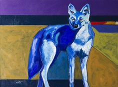 Blue Coyote Debut Painting by John Nieto