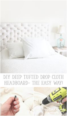 We Lived Happily Ever After: DIY Deep Tufted Drop Cloth Headboard- the easy way!