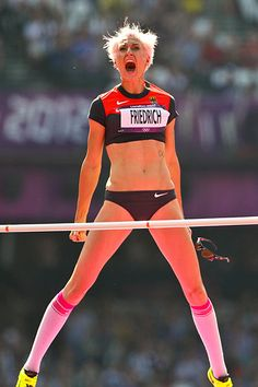 """Ariane Friedrich of Germany celebrates her succesful jump... or as I like to call it: """"Beast Mode initiated."""""""