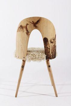 PyroDesign. #chaise #fourrure #pyrogravure