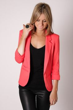 Coral Blazer. Leather Pants.