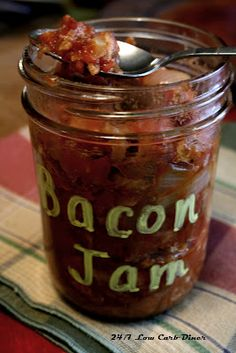 Low Carb Bacon Jam-This is great over scrambled eggs, how we had it this a.m. Also with cream cheese as an appetizer. Put it on burgers, chicken, sandwiches. All sorts of things could use a little sweet bacon side.
