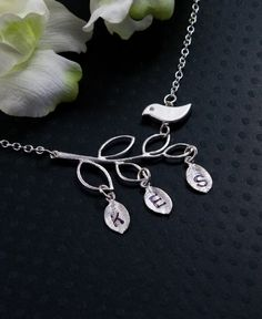 Mother Bird and Branch - 3 Initial Personalized Necklace  $33.50