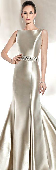 Breath-taking wedding gown in silver.