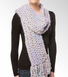 Isaac Mizrahi® CRAFT™ Central Park Super Chunky Crochet Scarf not only keeps you warm, but also makes a DIY fashion statement Chunky Crochet Scarf, Chunky Scarves, Crochet Scarves, Crochet Yarn, Crochet Hooks, Free Crochet, Crochet Headbands, Bernat Yarn, How To Start Knitting