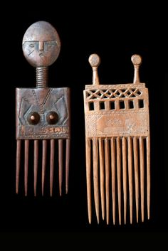Africa | Combs from the Ashanti people of Ghana | Wood