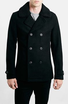 Free shipping and returns on Topman Peacoat with Removable Borg Collar at Nordstrom.com. Lustrous removable fleece trims the collar of a double-breasted peacoat embellished with front welt pockets and button-tab cuffs.