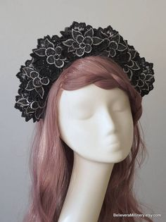 Marvelous Black and Silver Floral Headdress will make you feel like a Queen!  Materials: floral embellishments, wire frame, glass beads, fabric, handmade wire headband covered with brown fabric, elastic (goes under your hair).  One size fits all. Gorgeous accessory for racing, wedding, parties, photo shoot and other special events in your life!  Ready to ship