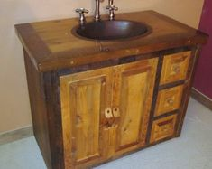 Canyon River Reclaimed Wood Vanity — Barn Wood Furniture - Rustic Barnwood and Log Furniture By Vienna Woodworks Reclaimed Wood Bathroom Vanity, Reclaimed Wood Vanity, Pallet Bathroom, Rustic Vanity, Rustic Bathroom Vanities, Bathroom Red, Reclaimed Barn Wood, Bathroom Ideas, Bathroom Renovations