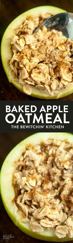 Baked Apple Oatmeal Bowls - an easy breakfast recipe that's ready in under a minute, healthy, and has no clean up! Plus 7 apple hacks. via @RandaDerkson