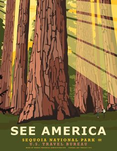 """See America"" is a fantastic national parks poster series by artist Steve Thomas that he created in the style of Works Progress Administration (WPA) posters from the 1930s and 40s. The …"