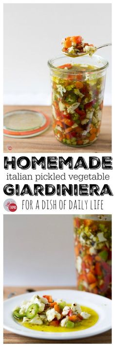 Homemade Italian Giardiniera - This recipe for Italian pickled vegetable giardiniera will perk up your cheese board and add zing to your favorite sandwich. Definitely a farmer's market favorite! Source by joanneeatswell Recipe Creator, Fermented Foods, Barbacoa, Canning Recipes, Canning Tips, Kefir, Italian Recipes, Food And Drink, Veggies
