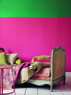 Whoa...It had me at neon pink...cool color blocking way to paint a wall.