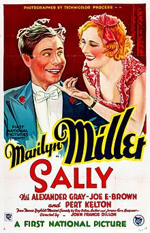 Sally is a 1929 American Pre-Code film. It is the fourth all talking all-color feature movie ever made and was photographed in the Technicolor process. It was the sixth feature movie to contain color that had been released by Warner Bros., the first five were The Desert Song (1929), On with the Show (1929), Gold Diggers of Broadway (1929), Paris (1929), and The Show of Shows (1929). (Song of the West was actually completed by June 1929 but had its release delayed until March 1930).