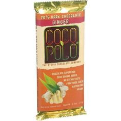 Coco Polo Chocolate Bar - 70 Percent Dark Ginger - Case of 12 - 2.5 oz Bars
