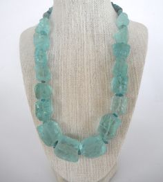 Blue Green Aqua Rough Quartz Nugget with Apatite Chip Necklace Frosty Matte Ice Silver gift fashion under 60. $55.00, via Etsy.