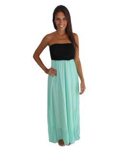 Mint and Black Strapless Maxi Dress  #savedbythedress