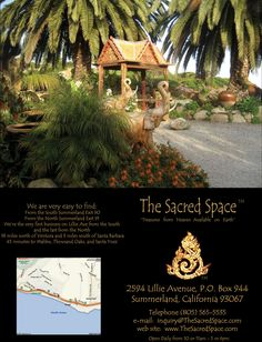 The Sacred Space in Summerland CA. A lovely place to visit on the way to Santa Barbara. A neat place to get inspired.~