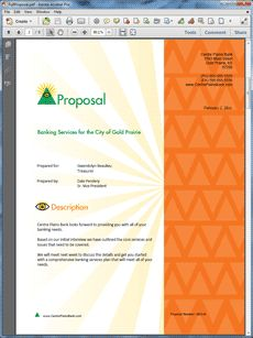 Banking Services Sample Proposal - The Banking Services Sample Proposal is an example of a proposal using Proposal Pack to pitch banking services. Create your own custom proposal using the full version of this completed sample as a guide with any Proposal Pack. Hundreds of visual designs to pick from or brand with your own logo and colors. Available only from ProposalKit.com (come over, see this sample and Like our Facebook page to get a 20% discount)