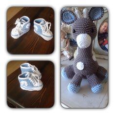 Schoentjes en giraffe gemaakt als kraamcadeautje