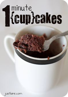 1 minute {cup}cakes: 1 box angelfood cake, 1 box cake of choice, 2 boxes pudding mix. The 3-2-1 cake 3T mix, 2 T liquid (water, milk, coffee, juice) and 1 minute in A MICROWAVE.