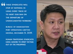 Bureau of Immigration announced the implemention of expanded travel ban including Korea's North Gyeongsang Province, Daegu and Cheongdo amidst the outbreak Taal Volcano, President Of The Philippines, Modus Operandi, Work Abroad, Law Enforcement Agencies, Dubai Travel, Department Of Justice, Human Trafficking, Travel Abroad