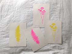 Fern botanical print in bright pink limited edition Risograph 'Botanique…