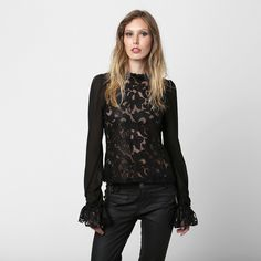 Camisa Lança Perfume c/ Renda Preto   Zattini - A nova loja de moda online da Netshoes