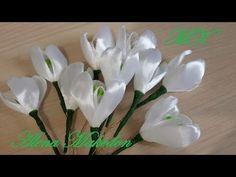 Подснежники. Весенние цветы Канзаши. - YouTube Ribbon Flower Tutorial, Diy Ribbon, Ribbon Work, Ribbon Crafts, Flower Crafts, Handmade Flowers, Diy Flowers, Fabric Flowers, Paper Flowers