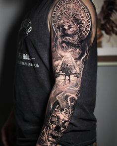 3 consecutive days working on this Viking sleeve ⚫ ⚕️ Viking Tattoo Sleeve, Skull Sleeve Tattoos, Norse Tattoo, Best Sleeve Tattoos, Tattoo Sleeve Designs, Tattoo Designs Men, Viking Tattoo Design, Viking Tattoos For Men, Viking Warrior Tattoos