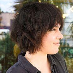 Messy Bob Haircut with Shaggy Layers Shag Bob Haircut, Medium Shag Haircuts, Textured Haircut, Bob Haircut With Bangs, Haircut For Thick Hair, Short Hair With Bangs, Cut My Hair, Short Hair Cuts, Brunette Bob Short