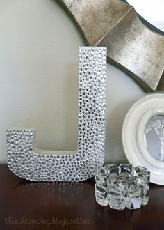 Bling-Bling Rhinestone Monogram - lys this would look sweet on your new shelves Cardboard Letters, Painted Letters, Monogram Letters, Crafts To Sell, Diy Crafts, Alphabet Letter Crafts, Shower Bebe, Baby Shower, Diy Blinds