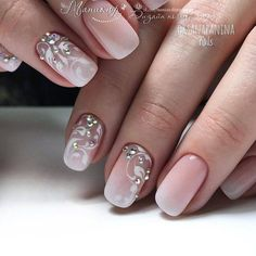 French fade nails with delicate white floral swirl designs and iridescent rhinestones. French Fade Nails, Faded Nails, Pink Nails, Elegant Nails, Stylish Nails, Cute Nails, Pretty Nails, Nagellack Design, Wedding Nails Design
